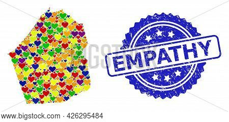 Blue Rosette Rubber Watermark With Empathy Caption. Vector Mosaic Lgbt Map Of Dubai Emirate Of Love