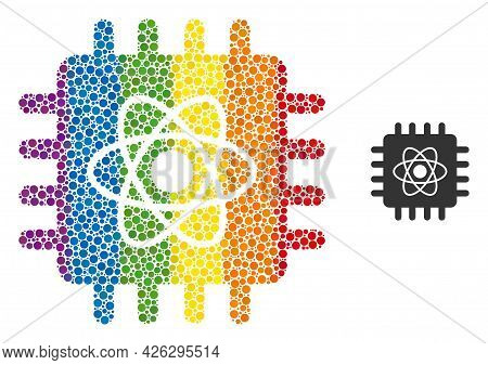 Quantum Computing Composition Icon Of Filled Circles In Variable Sizes And Rainbow Color Hues. A Dot