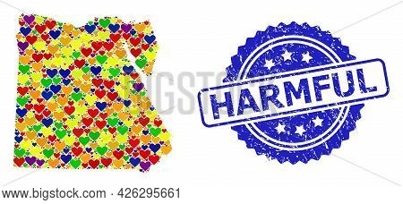Blue Rosette Grunge Seal With Harmful Title. Vector Mosaic Lgbt Map Of Egypt With Lovely Hearts. Map