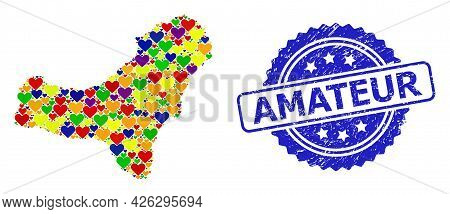 Blue Rosette Distress Seal Stamp With Amateur Title. Vector Mosaic Lgbt Map Of El Hierro Island With