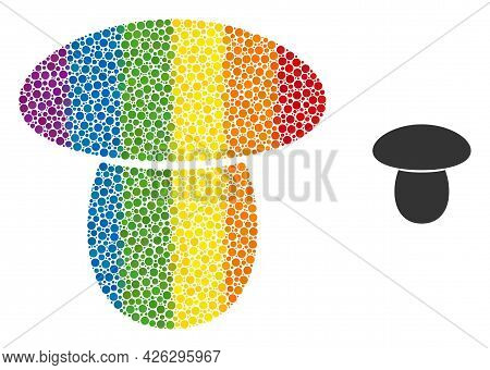 Mushroom Mosaic Icon Of Round Dots In Various Sizes And Spectrum Colored Color Hues. A Dotted Lgbt-c