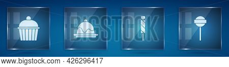 Set Cake, , Candy And Lollipop. Square Glass Panels. Vector