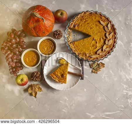 Thanksgiving Day. Thanksgiving Autumn Background Of Pumpkins And Pie. Thanksgiving. View From Above.
