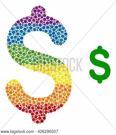 Dollar Price Composition Icon Of Circle Elements In Various Sizes And Rainbow Colored Color Tints. A