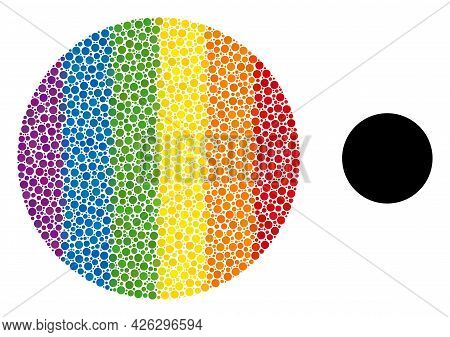 Circle Composition Icon Of Round Dots In Different Sizes And Spectrum Color Tones. A Dotted Lgbt-col