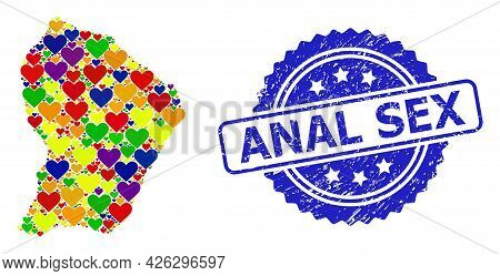 Blue Rosette Scratched Seal Imprint With Anal Sex Text. Vector Mosaic Lgbt Map Of French Guiana With