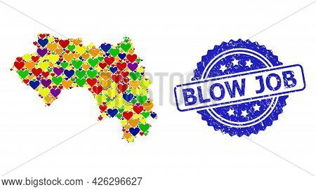 Blue Rosette Scratched Seal Stamp With Blow Job Title. Vector Mosaic Lgbt Map Of French Guinea With