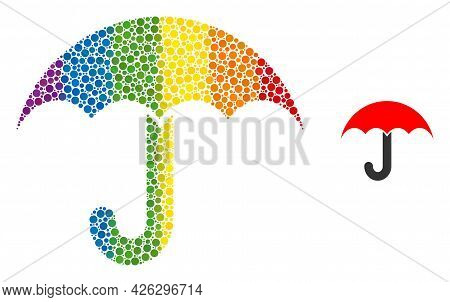 Umbrella Mosaic Icon Of Round Items In Various Sizes And Rainbow Colored Color Tints. A Dotted Lgbt-