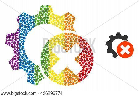 Delete Settings Gear Collage Icon Of Spheric Blots In Variable Sizes And Spectrum Color Tones. A Dot