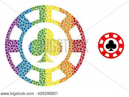 Clubs Casino Chip Mosaic Icon Of Round Dots In Different Sizes And Rainbow Color Tones. A Dotted Lgb