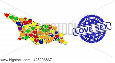 Blue Rosette Grunge Seal Stamp With Love Sex Message. Vector Mosaic Lgbt Map Of Georgia Of Lovely He