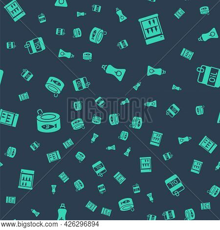Set Sauce Bottle, Commercial Refrigerator, Canned Fish And Bottle Of Olive Oil On Seamless Pattern.