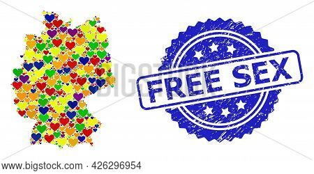 Blue Rosette Grunge Seal Stamp With Free Sex Phrase. Vector Mosaic Lgbt Map Of Germany With Lovely H