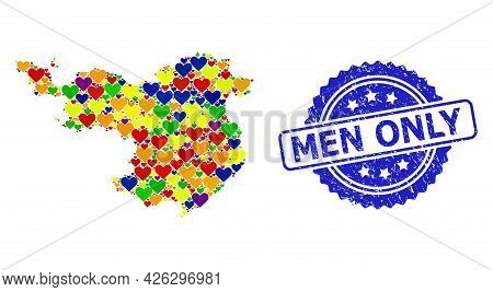 Blue Rosette Scratched Seal With Men Only Title. Vector Mosaic Lgbt Map Of Gerona Province With Love