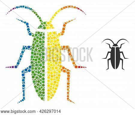 Cockroach Collage Icon Of Spheric Blots In Different Sizes And Rainbow Color Tones. A Dotted Lgbt-co
