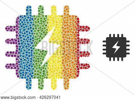 Power Chip Collage Icon Of Filled Circles In Different Sizes And Spectrum Colored Color Tinges. A Do