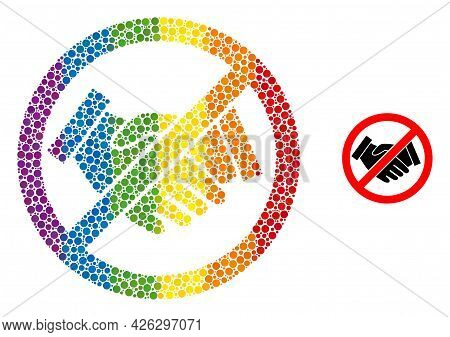 Forbidden Handshake Composition Icon Of Round Dots In Various Sizes And Rainbow Multicolored Shades.
