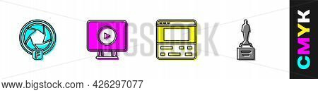 Set Camera Shutter, Online Play Video, Video Recorder On Laptop And Movie Trophy Icon. Vector