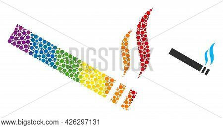 Cigarette Smoke Collage Icon Of Circle Elements In Various Sizes And Spectrum Color Hues. A Dotted L