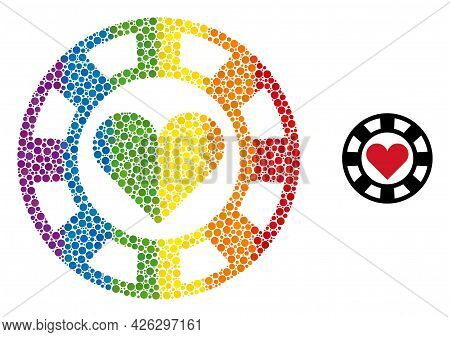 Hearts Casino Chip Mosaic Icon Of Circle Elements In Various Sizes And Spectrum Colored Color Hues.