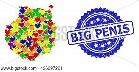 Blue Rosette Scratched Stamp With Big Penis Title. Vector Mosaic Lgbt Map Of Gran Canaria From Love