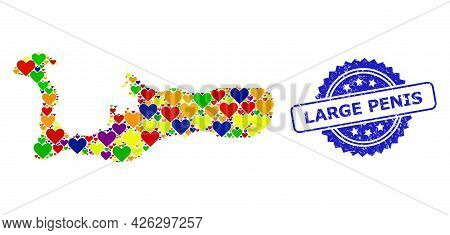 Blue Rosette Distress Watermark With Large Penis Caption. Vector Mosaic Lgbt Map Of Grand Cayman Isl