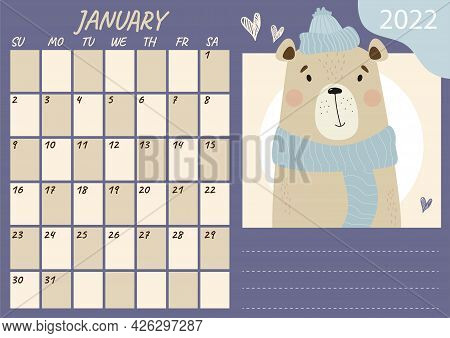 Horizontal Planner Calendar Template For January 2022. Cute Winter Bear In A Hat And Scarf. Vector I