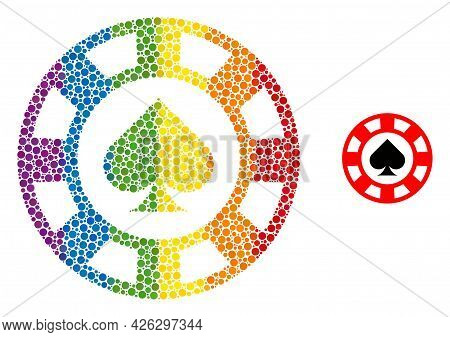 Spades Casino Chip Collage Icon Of Spheric Blots In Variable Sizes And Rainbow Colored Color Tinges.