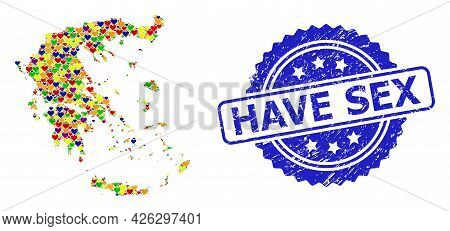 Blue Rosette Scratched Seal Stamp With Have Sex Title. Vector Mosaic Lgbt Map Of Greece From Lovely