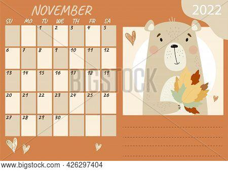 Planner Calendar Template For November 2022. Cute Teddy Bear With A Bouquet Of Autumn Leaves. Vector