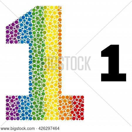 Digit One Mosaic Icon Of Circle Elements In Variable Sizes And Spectrum Colored Shades. A Dotted Lgb