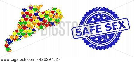 Blue Rosette Distress Seal With Safe Sex Title. Vector Mosaic Lgbt Map Of Guangdong Province With He