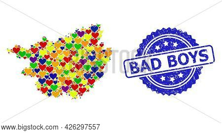 Blue Rosette Scratched Watermark With Bad Boys Title. Vector Mosaic Lgbt Map Of Guangxi Province Wit