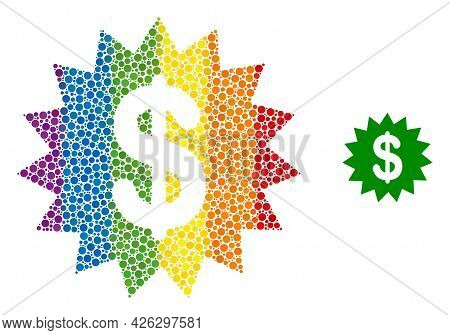 Dollar Rosette Mosaic Icon Of Circle Elements In Various Sizes And Spectrum Color Hues. A Dotted Lgb