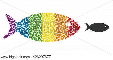 Fish Mosaic Icon Of Filled Circles In Various Sizes And Spectrum Colorful Color Tints. A Dotted Lgbt