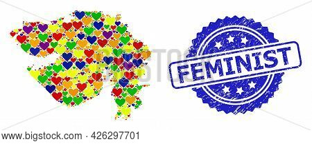 Blue Rosette Distress Watermark With Feminist Message. Vector Mosaic Lgbt Map Of Gujarat State With
