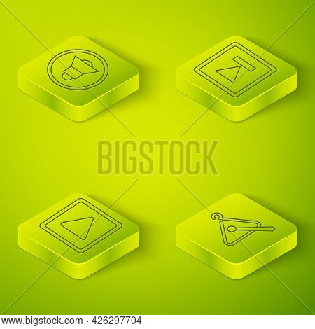 Set Isometric Fast Forward, Play In Square, Triangle Musical Instrument And Speaker Volume Icon. Vec