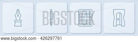 Set Line Fountain Pen Nib, Calculator, Pen And Pencil Sharpener. White Square Button. Vector
