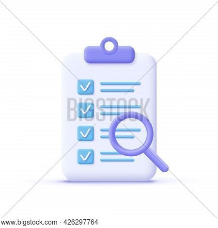 Successfully Complete Business Assignments Icon. Magnifying Glass With A Checklist On Clipboard Pape