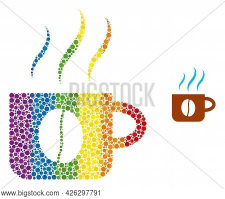 Hot Coffee Cup Composition Icon Of Circle Elements In Variable Sizes And Rainbow Colored Color Tinge