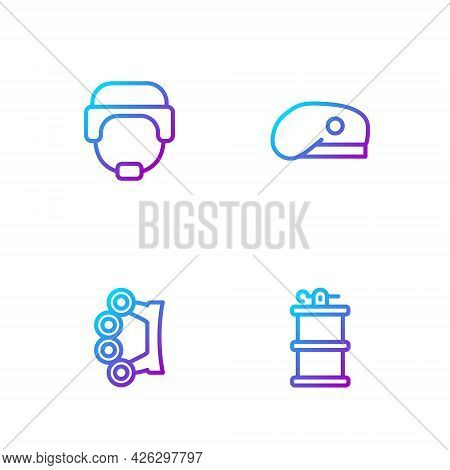 Set Line Hand Smoke Grenade, Brass Knuckles, Military Helmet And Beret. Gradient Color Icons. Vector