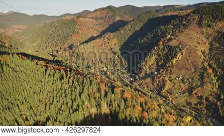 Sun autumn trees at mountain tops. Aerial nobody nature landscape at countryside. Road at cottages in mount valley. Green, yellow rural fir and leafy forest at Carpathians ridges, Ukraine, Europe