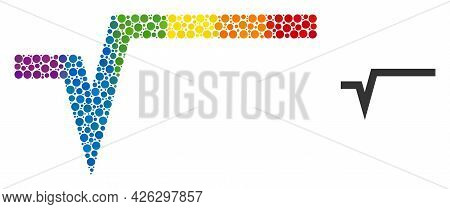 Square Root Collage Icon Of Filled Circles In Different Sizes And Spectrum Color Hues. A Dotted Lgbt