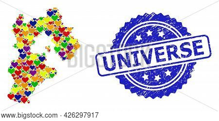 Blue Rosette Scratched Stamp With Universe Phrase. Vector Mosaic Lgbt Map Of Hebei Province With Lov
