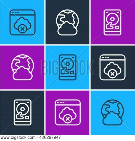Set Line Failed Access Cloud Storage, Hard Disk Drive Hdd And Social Network Icon. Vector