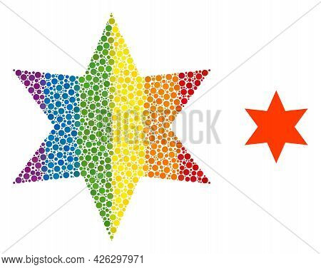 Six Pointed Star Mosaic Icon Of Spheric Dots In Different Sizes And Spectrum Colored Color Tinges. A
