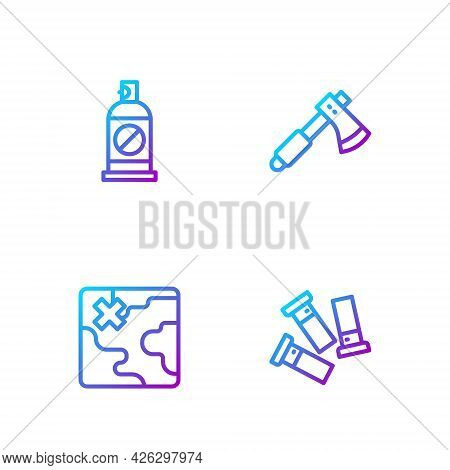 Set Line Cartridges, Africa Safari Map, Spray Against Insects And Wooden Axe. Gradient Color Icons.