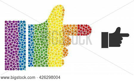 Index Finger Collage Icon Of Circle Elements In Different Sizes And Rainbow Multicolored Color Hues.