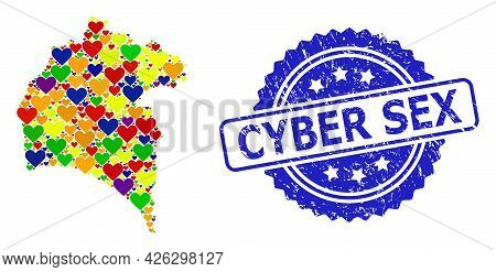 Blue Rosette Distress Seal Stamp With Cyber Sex Title. Vector Mosaic Lgbt Map Of Huelva Province Wit
