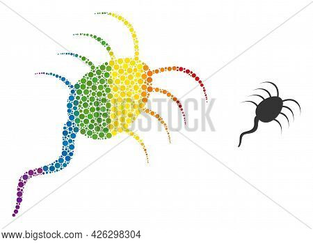 Infection Microbe Composition Icon Of Circle Spots In Variable Sizes And Spectrum Color Tinges. A Do
